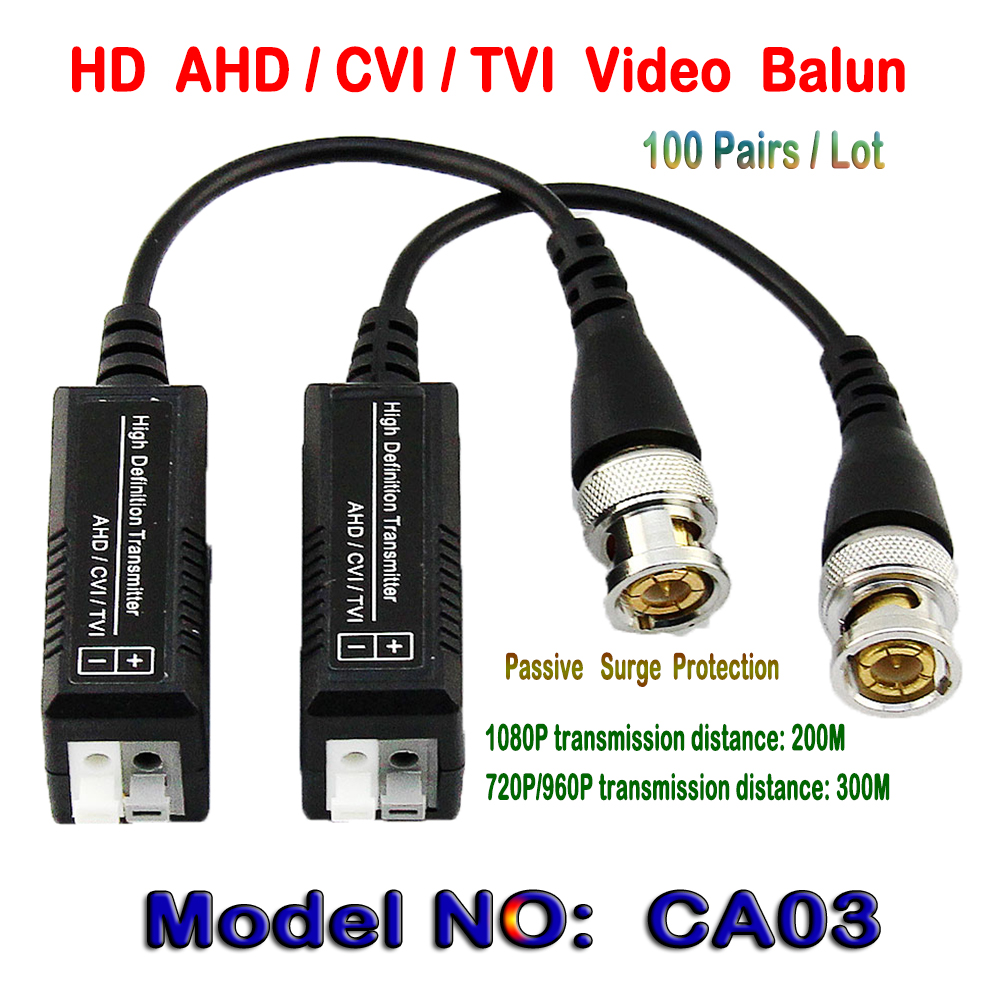 100 Pairs HD CVI/TVI/AHD Pasif Tek Kanal Video Balun HD CCTV Via Twisted Çiftleri Verici & alıcı bnc UTP Cat5/5e/6