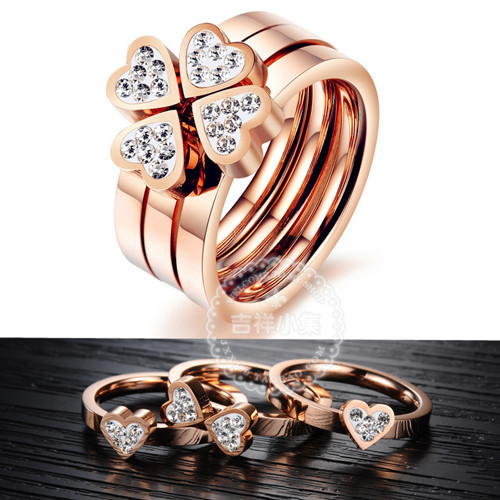 YUN RUO Shinning Crystal 3 Rings Set Woman Fine Jewelry Titanium Steel & Rose Gold Color Wholesale Free Shipping USA Size Gift