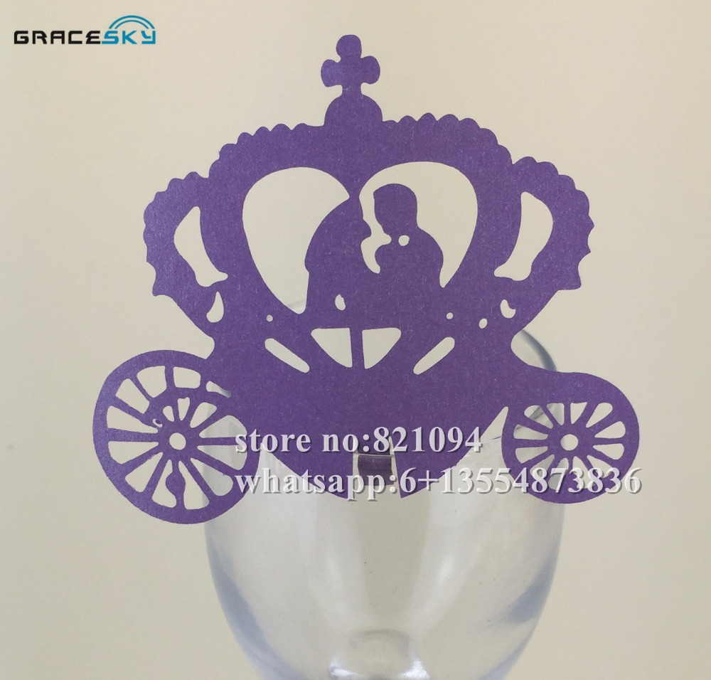 50pcs Free Shipping laser Cut prince& princess in pumpkin carriage Place name seat party Invitation Cup Cards for party supplies