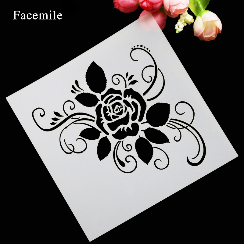Facemile Flower Spray Stencils Birthday Decorating Bakery Tools DIY Fondant Cake Stencil Cookie Cake Mold Baking Biscuit