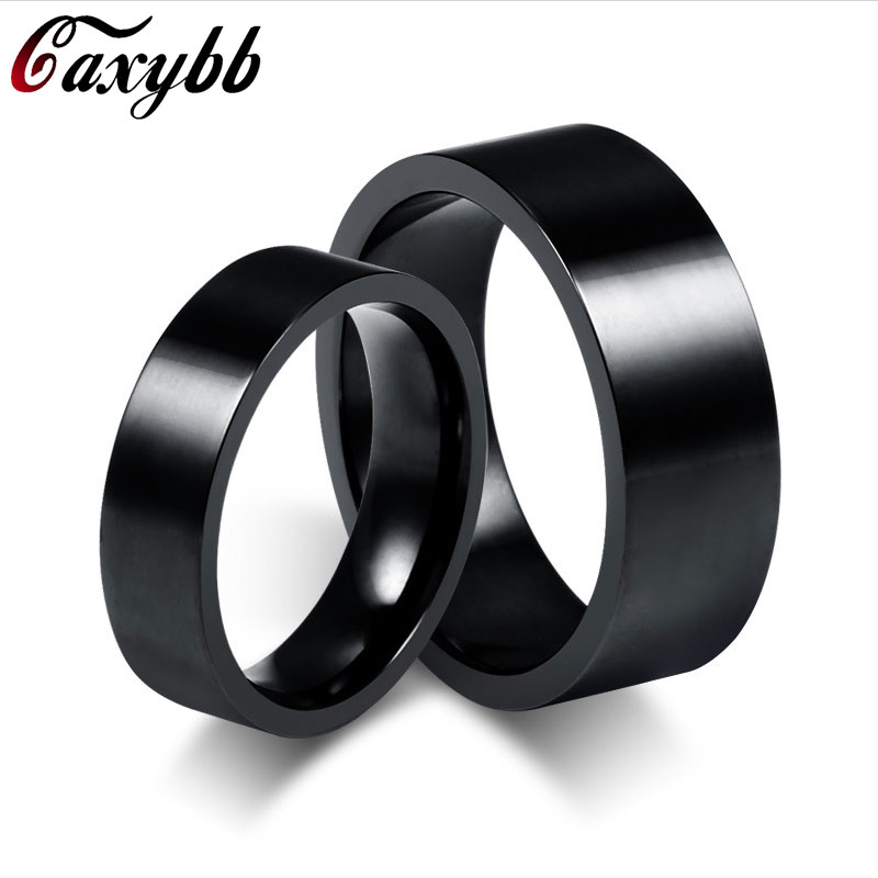Caxybb Men Jewelry Rings Black Titanium Steel men ring 8mm black Punk Street Party Rings for women men jewelry