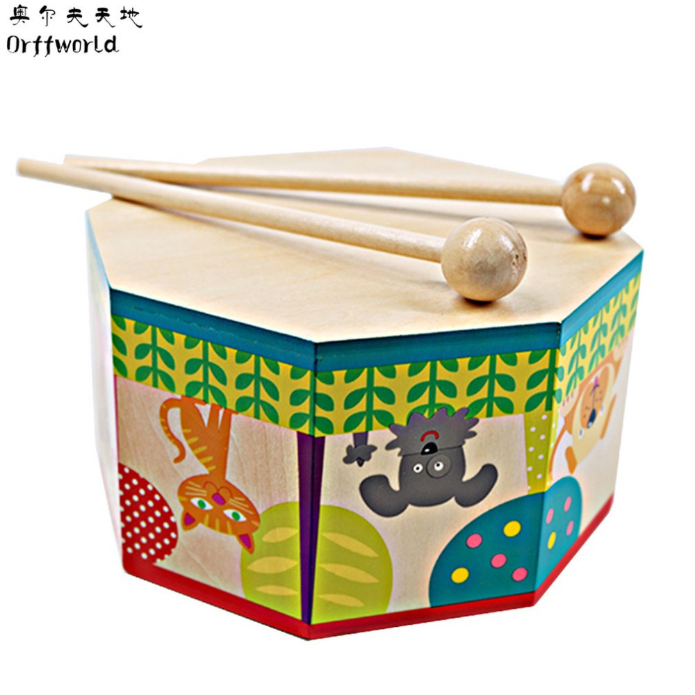 Orff World Drum Sticks Kids Wooden Percussion Toy Musical Instrument Hand Drum Toys For Kindergarten School Home Learning
